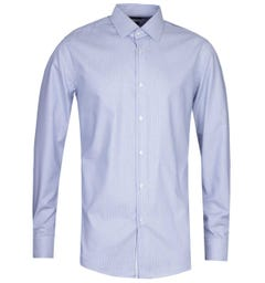BOSS Jango Regular Fit Pinstripe Placket Detail Blue Long Sleeve Shirt