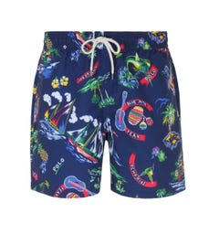 Polo Ralph Lauren All-Over Polo Print Blue Swim Shorts