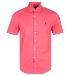 Polo Ralph Lauren Slim Fit Garment Dyed Red Short Sleeve Shirt
