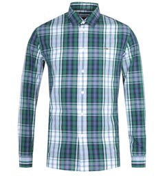 Lacoste Classic Fit Long Sleeve Sage Green Check Shirt