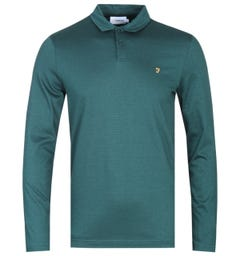 Farah Armiage Mercerised Long Sleeve Emerald Green Polo Shirt