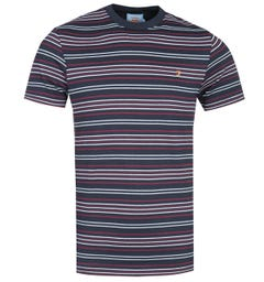Farah Rosedale Striped True Navy T-Shirt