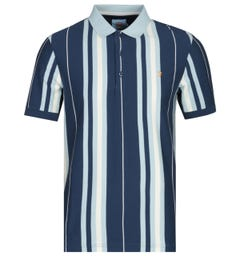 Farah Wigwam Slim Fit Yale Blue Striped Polo Shirt