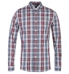 Farah Brewer Tartan Check Burgundy & Grey Slim Fit Shirt