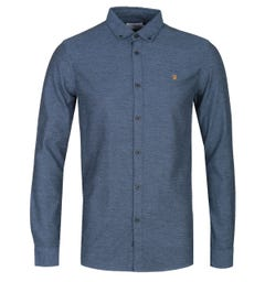 Farah Kreo Long Sleeve Textured Slim Fit Cold Metal Blue Shirt