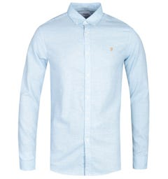 Farah Kreo Long Sleeve Textured Slim Fit Moonstone Blue Shirt