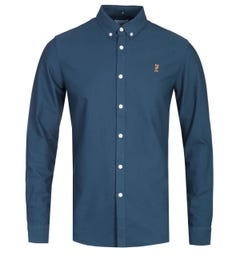 Farah Brewer 100 Slim Fit Navy Oxford Shirt