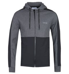 Calvin Klein Mix Media Zip-Through Black & Grey Hoodie