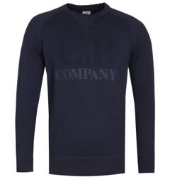 CP Company Logo Knit Navy Sweater