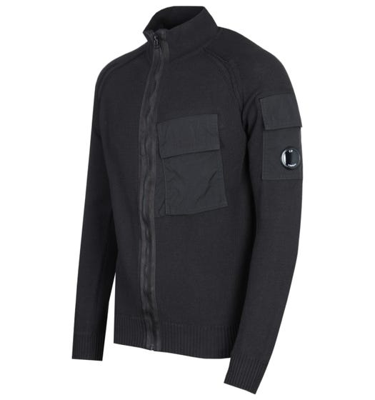 CP Company Zip Pocket Knitted Black Lens Cardigan