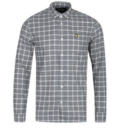 Lyle & Scott Grey Checked Long Sleeve Flannel Shirt