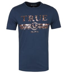 True Religion True Sequin Logo Navy T-Shirt