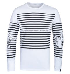 True Religion Long Sleeve Buddha Stripe White T-Shirt
