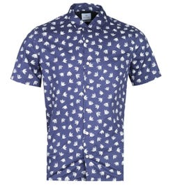 PS Paul Smith Casual Fit Contrast Floral Pattern Short Sleeve Navy Shirt