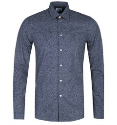 PS Paul Smith Tailored Fit Navy Patterned Shirt