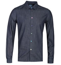 PS Paul Smith Tailored Fit Multi Color Button Deep Indigo Long Sleeve Shirt