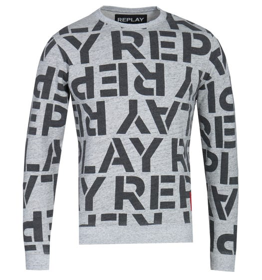 Replay Logo Print Grey Marl Sweatshirt