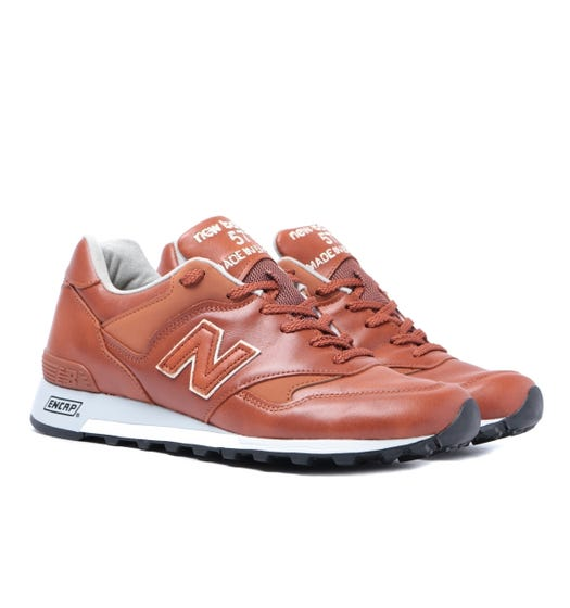 New Balance Made In England M577 Tan Leather Trainers