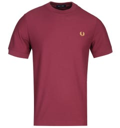 Fred Perry Cotton Pique Port Red Logo T-Shirt