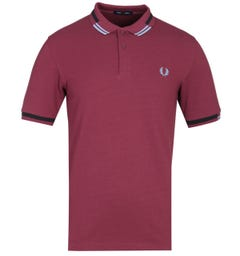 Fred Perry Abstract Tipped Port Burgundy Polo Shirt