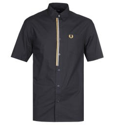 Fred Perry Taped Placket Black Shirt