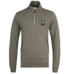 MA.Strum Dark Khaki Green Zip Neck Training Sweatshirt