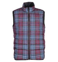 Barbour Burgundy Tartan Padded Gilet