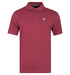 Barbour Tartan Burgundy Pique Polo Shirt
