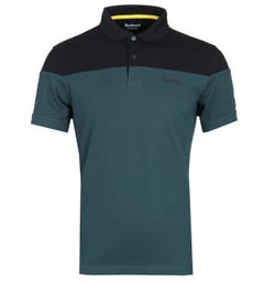 Barbour International Curve Two-Tone Sage Green & Black Polo Shirt