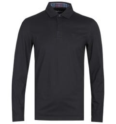 Barbour Dunnet Long Sleeve Tartan Trim Black Polo Shirt