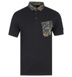 Barbour International Pace Pocket Black & Camo Polo Shirt