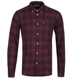 Barbour Cannich Small Check Tailored Fit Deep Red Shirt