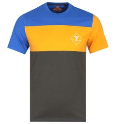 Barbour Beacon Block Stripe Slim Fit Orange, Blue & Green T-Shirt