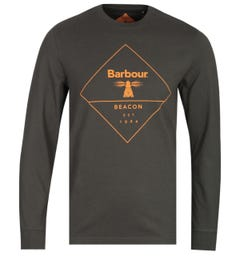 Barbour Beacon Big Logo Long Sleeve Forest Green T-Shirt