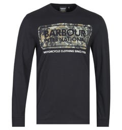 Barbour International Tailored Fit Camo Logo Black Long Sleeve T-Shirt