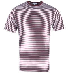 Sunspel Short Sleeve Crew Neck White & Maroon Striped T-Shirt
