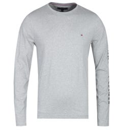Tommy Hilfiger Long Sleeve Tommy Logo Grey Marl T-Shirt