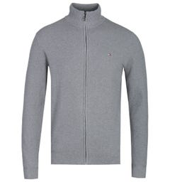 Tommy Hilfiger Grey Zip-Through Structured Knit Sweater
