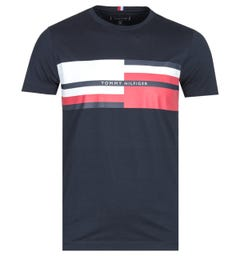 Tommy Hilfiger Abstract Stripe Desert Sky Navy T-Shirt
