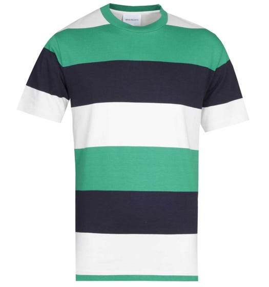 Norse Projects Johannes Border Stripe Off White, Navy & Green T-Shirt