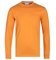 Norse Projects Johannes Long Sleeve Cadmium Orange Pocket Sweatshirt