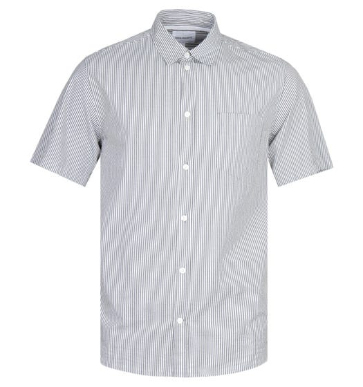 Norse Projects Osvald Short Sleeve Seersucker Grey Stripe Shirt