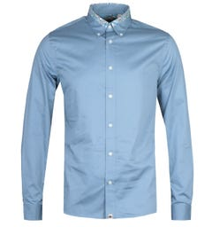 Pretty Green Slim Fit Marshall Carver Blue Long Sleeve Shirt