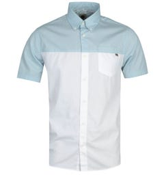 Pretty Green Slim Fit Clifton Colourblock Short Sleeve White & Blue Shirt