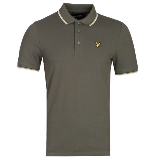 Lyle & Scott Slim Fit Tipped Polo Shirt - Olive