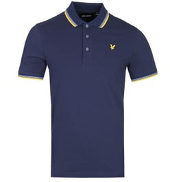 Lyle & Scott Slim Fit Tipped Navy & Mustard Yellow Polo Shirt