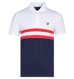 Lyle & Scott Yoke Stripe Two-Tone White & Navy Polo Shirt