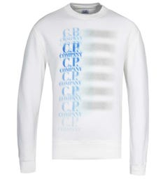CP Company Blurred Logo White Crew Neck Sweatshirt