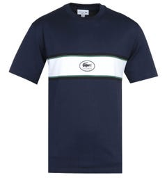 Lacoste Chest Panel heritage Logo Navy T-Shirt