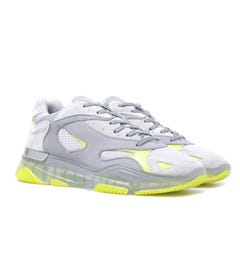 Mallet Lurus Clear Grey & Neon Green Suede Trainers